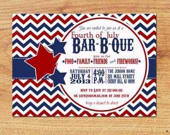 Printable 4th of July Party Inviation-Digital Custom Card-Vintage Chevron