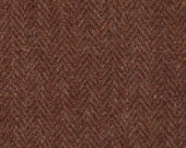 "5117  -  Felted 100 Percent Woven Wool -  Heringbone - Rust - Harris Tweed Brand - 19.5"" x 7"" - great for rug hooking, wool wallets"