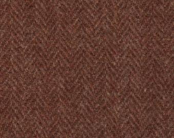 """5116  -  Felted 100 Percent Woven Wool -  Heringbone - Rust - Harris Tweed Brand - 21"""" x 7""""-Rug Hooking"""