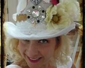 ENCHANTED DREAMER, White or Black Felt Top hat, Custom Made, for Bachelorette, Weddings, Girls Night, Parties