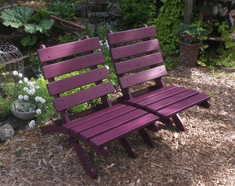 Add Zen Beauty to your Garden & Patio - Egg Plant Color Cedar Chair - Storable! - Garden Furniture handcrafted by Laughing Creek