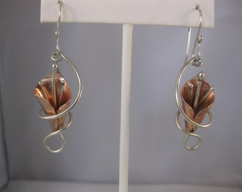 Calla Lily Copper Earrings Wrapped in Sterling Silver