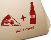 DIY Printable Pizza & Beer Invitation Postcard / Instant Download Customizable PDF