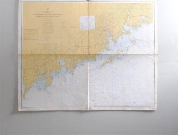 Vintage Nautical Map - North Shore of Long Island Sound to Stamford Harbor, Connecticut
