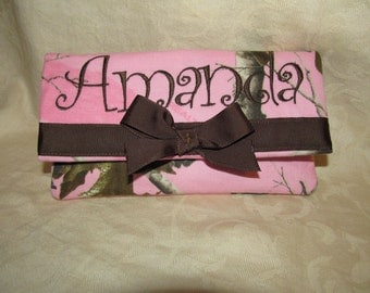 Wallet pink camo camouflage realtree camo pink realtree wallet womens Realtree pink camo fabric large wallet 6 pockets you choose name
