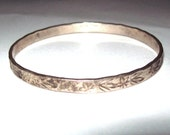 Mexican Silvertone Bangle Stamped Design