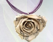 Sheet Music Rose Necklace Book Page Rose Lavender Ribbon Necklace