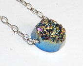 Druzy Necklace - Drusy Agate Quartz Stone - Sterling Silver Necklace - Titanium Druzy