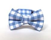 Boy's Bow Tie - Light Blue Gingham - Pale Blue and White Plaid Checks