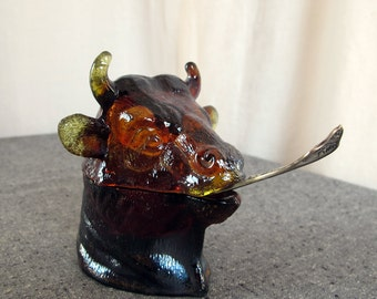 Sauce Pot Bull Pressed Sandwich Glass Irredescent Luster
