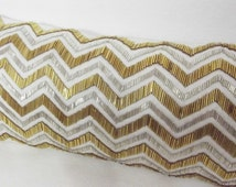 white and gold sequins cushion in size 9x20,unique gift,mothers day special maytrend