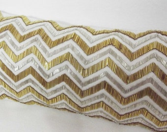 White and Gold Sequins Cushion-Gold Glitter Cushions-Chevron Pattern