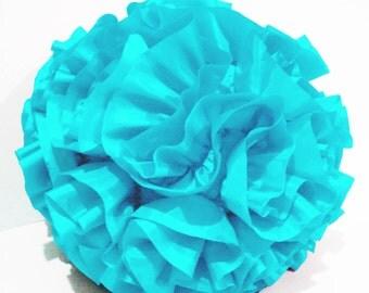 baby light pastel blue ruffled polyfilled  round pillow in a round 16 inch diameter fibre pillow bedroomdecor handmade pillow nursery pillow