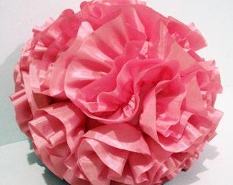 Flower Boho Gift-Pink Christmas-Ruffle Pillow-Pink Pillow-Round Pillow-Nursery Decor-Best Winter Woman Gift-Baby Room Decor-Home Decor