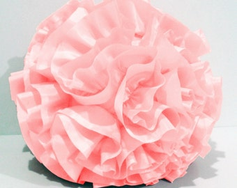 Baby Pillow/Pink Pillow/Nursery decor/Personalized/Baby shower/Ruffle/Round Pillow/Soft Ball Gift/Wedding Gifts/House warming Gifts