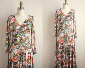 60s Floral Maxi Dress - Photo Print Floral Dress