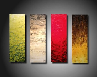 painting art painting-- world apart -- PALLET KNIFE  oil  ORIGINAL Abstract Custom Textured modern 4  Piece Painting 24 Inches X 32 custom