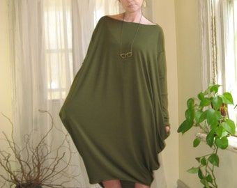 Shape Shifter Asymmetric Dress Off Shoulder Oversize Tunic Long Sleeve Long Midi Dress Maternity Fall Dress XSmall - XLarge (More Colours)