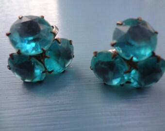 Vintage Earrings Featuring a Trio of Blue Gemstones