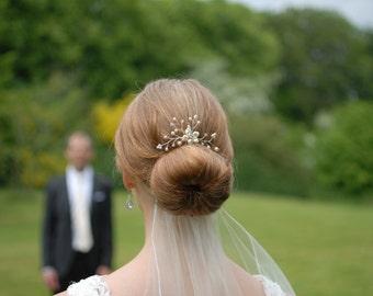 Pearl Rhinestone Floral Vine Bridal Hair Pin - Ivory Cream White Swarovski Pearls Wedding Hair Pieces Accessories Bride Bridesmaid Gold