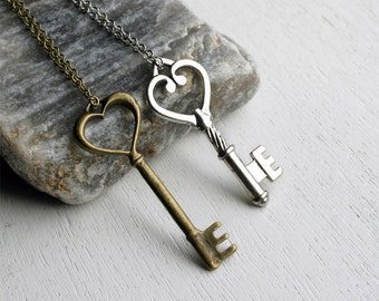 Key Necklace on Chain (many different keys to choose)