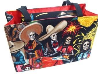 Fiesta DE San Marocs Skulls Latino  US handmade Handbag Purse Alexander Henry Fabric, new