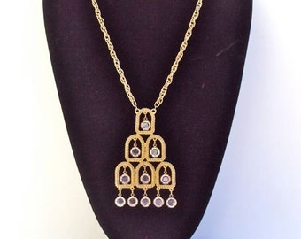 Designer Necklace, Pendant with Crystal Dangles, Gold Tone, Abstract, Vintage
