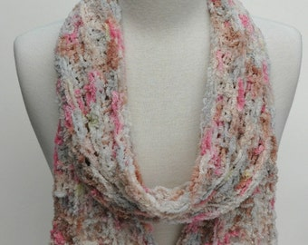 Cotton Scarf- Hand Knit/ Mauve, Gray, Pink and Tan