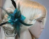 Turqoise Feather Fascinator Hair Clip Crystal Rhinestones, Wedding Reception - Belinda
