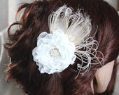 Off-White Rose Crystal Hair Flower comb / Clip wedding head Piece - sunny