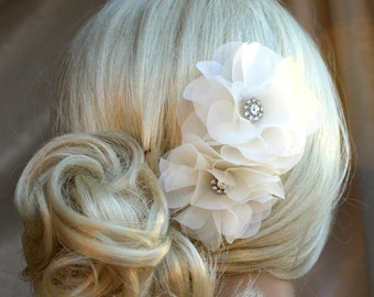 Silk organza flowers hair clip for wedding reception bridal party  wedding hair piece - 2 white peonies