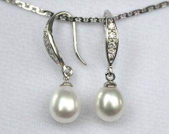 Freshwater pearl Bridal Earrings Crystal Wedding - ER1013