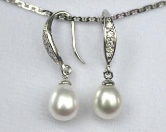 Ivory Freshwater pearl Bridal Earrings Crystal Wedding - ER1013- made to order