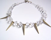 Faceted Quartz Stone Statement Necklace - Clear Rock Crystal Nuggets with Brass Metal Spikes