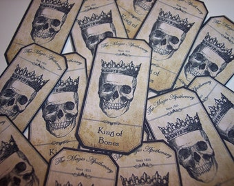 King of Bones Steampunk  Apothecary Labels Set of 12