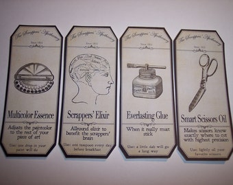 Scrappers Steampunk  Apothecary Labels Set of 8