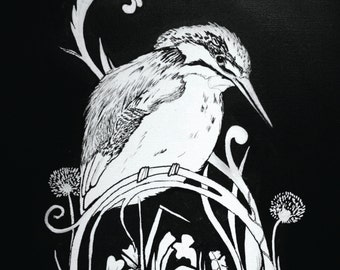 A2 Kingfisher Print - waiting for a catch