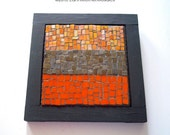 Tangerine Mosaic Stained Glass Wall Art - Contemporary Design - Abstract - Free Shipping Within US - SALE - Item Price has been reduced