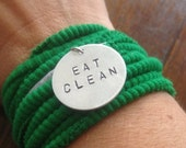 "Healthy Eating Inspiration and Motivation - Hand Stamped ""EAT CLEAN"" Bracelet With Knit Wrap/Cuff"