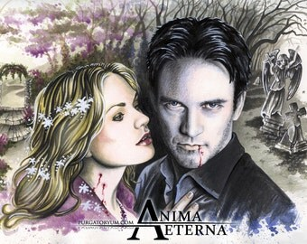 """Fairy Blood - True Blood Traditional Art Watercolor Painting - Fine Art Print 15x20cm (5.9""""x7.8"""") - Hand Signed"""