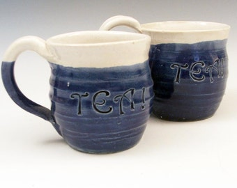 Tea for Two - Cobalt Blue and White Teacups/Mugs