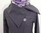 Organic Cotton Pea Coat Sweatshirt, Eco Friendly, Military Style Jacket