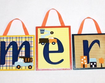 Cameron Collection-  M2M Kids Line Carters Street Fleet Bedding - Construction Theme Wall letters