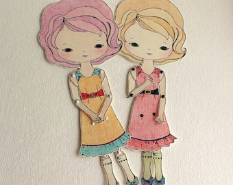 Articulated Paper Doll Prints - Cinnamon and Lavender - Instant Download