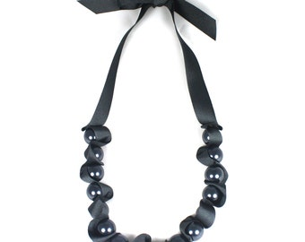 Charcoal Oversized Pearl and Ribbon Necklace - Chunky Beaded Necklace - Ribbon Necklace - Gift for Her - Wedding Jewellery