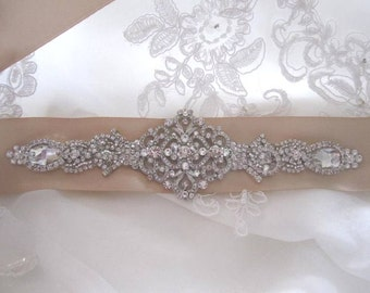 Chloe Bridal Wedding Dress Rhinestone Crystal Embellished Belt Sash Vintage Wedding Art Deco