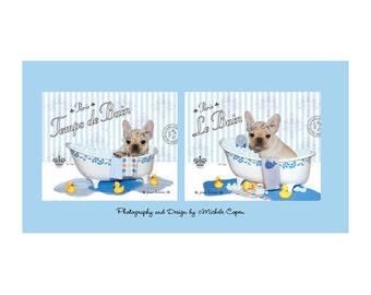 """French Bulldog Prints - Bath Series Prints , DUO SET -  Professional 8"""" x 10"""" Prints - Set of two bath prints"""