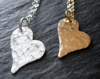 Hammered Heart Pendant Necklaces