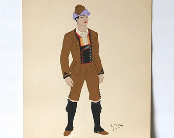 Pochoir Lithograph By Emile Gallois 1939 Leon Man's Costume