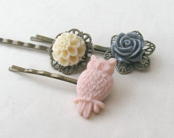 Owl Bobby Pin Set in Pink, Gray and Cream, Flower Bobby Pins